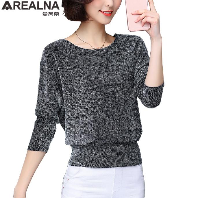 Shiny Sequin Blouse Korean Fashion Bat Sleeve Womens Tops And Blouses Plus Size Stretch Slim Lady Tops Women's Flash Lurex Shirt