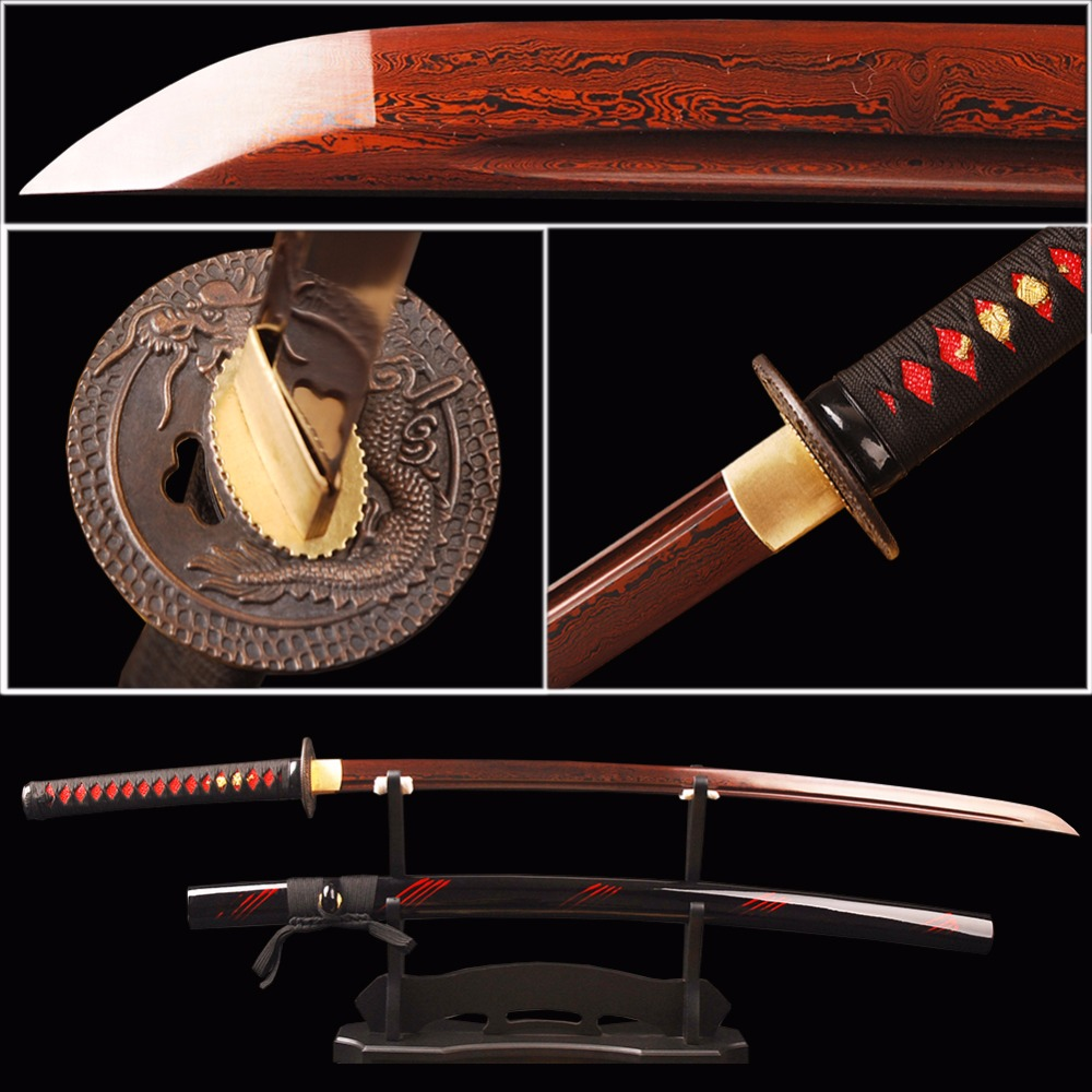 Brandon Swords Samurai Sword Red Damascus Foled Steel Blade Japanese Katana Sword Battle Ready Espada Practical Sharp Knife