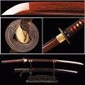 Brandon espadas Samurai Espada rojo Damasco Foled hoja de acero japonés Katana Espada lista para la batalla, Espada práctico cuchillo afilado