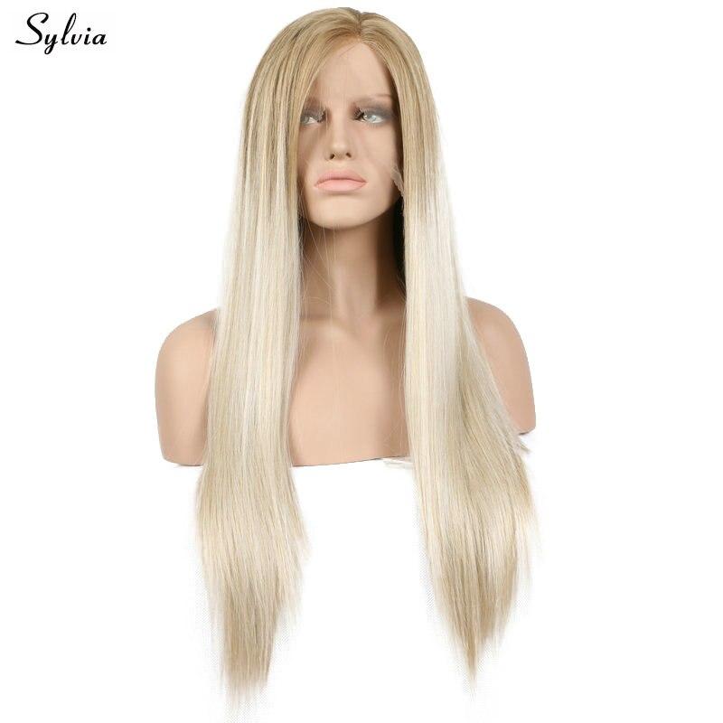 Sylvia природа вид блондинка Ombre синтетические Синтетические волосы на кружеве парик длинные прямые Термостойкие половины руки связали Волок...