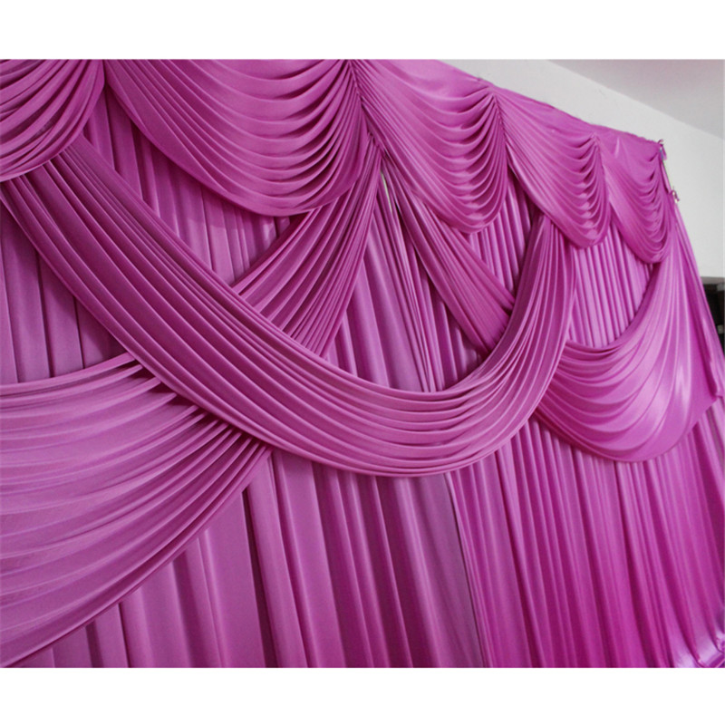 Free shipping Ice silk fabric wedding curtain backdrop with swag for party banquet birthday decoration
