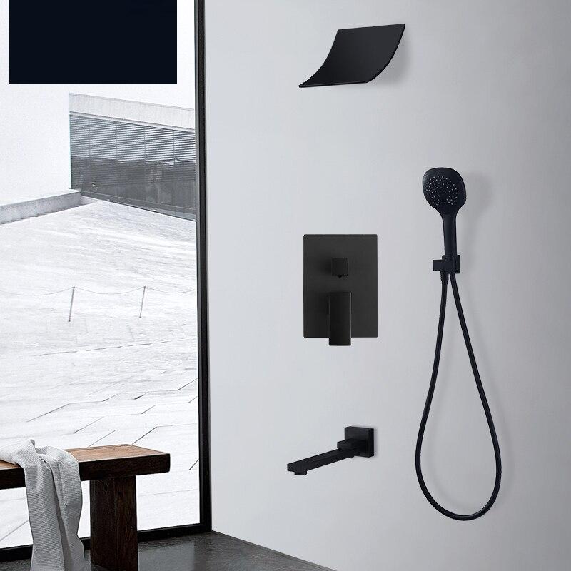 Премиум качество латунь черный душевой набор Ванная Водопад душевая головка кран душевой носик переключатель смеситель ручной спрей набор