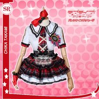 Love Live Sunshine Aqours CYaRon Concert Takami Chika Short Sleeve Tops Shirt Dress Uniform Outfit Anime Cosplay Costumes