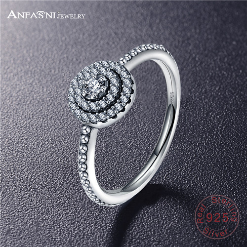 ANFASNI 100% Authentic 925 Sterling Silver Radiant Elegance Rings With Sparkling Clear CZ Original Wedding Ring For Women SRI48
