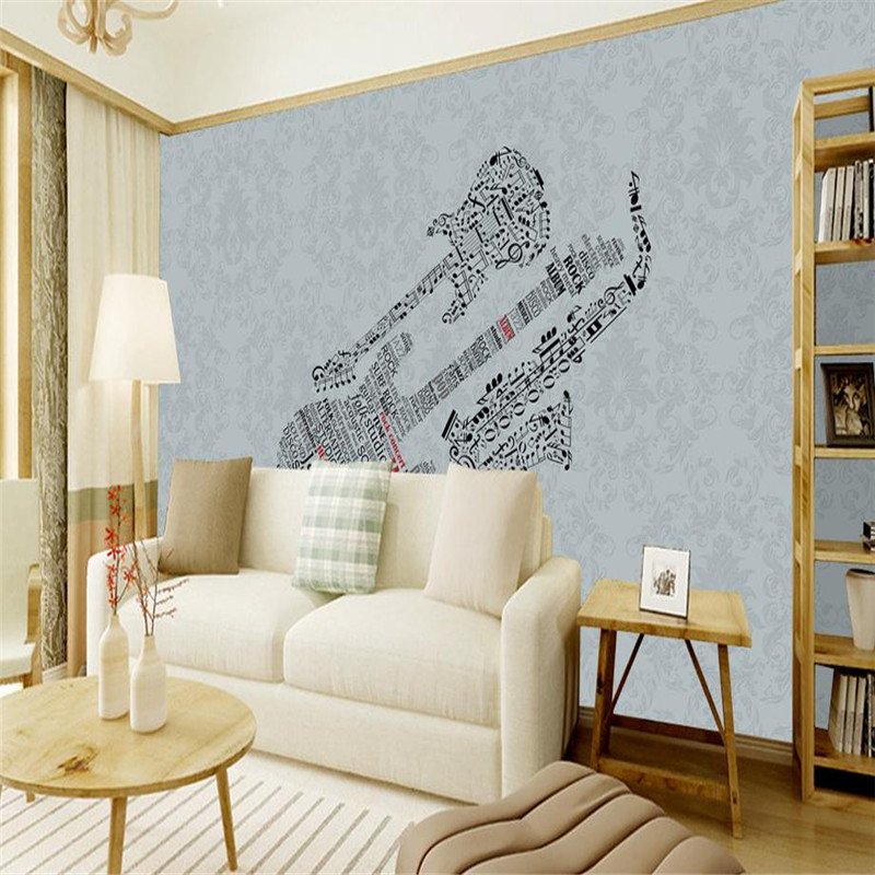 3D home decor custom wallpaper high quality wall mural modern simple blue guitar saxophone living room TV background wallpaper