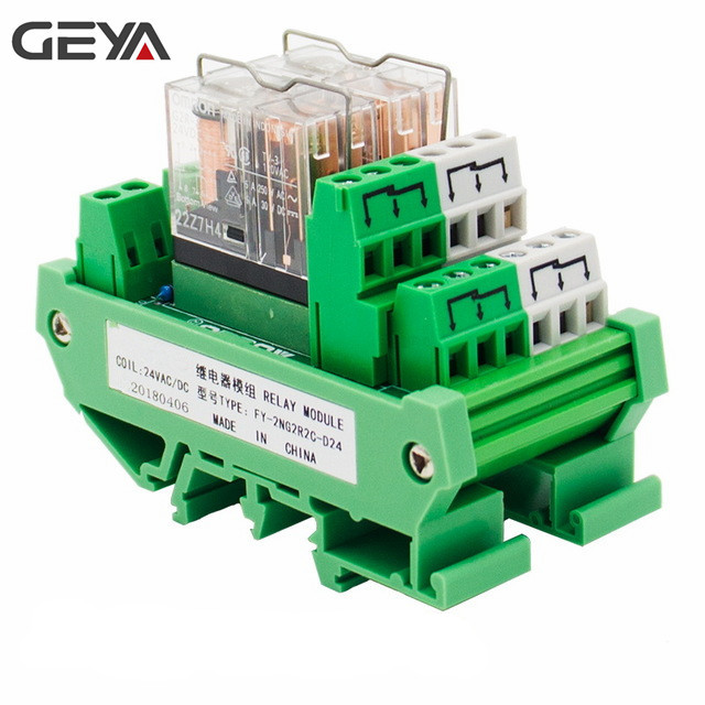 цена на GEYA 2NG2R 2 Channel Omron Relay Module 2NO 2NC DPDT PLC RELAY Interface 12V 24V AC/DC