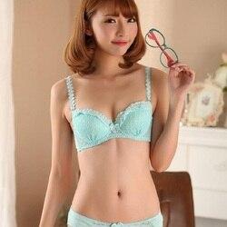 Японский милый женский комплект с бюстгальтером, 3/4, регулируемый комплект нижнего белья с эффектом пуш-ап, для маленькой груди, для девушек,... 2