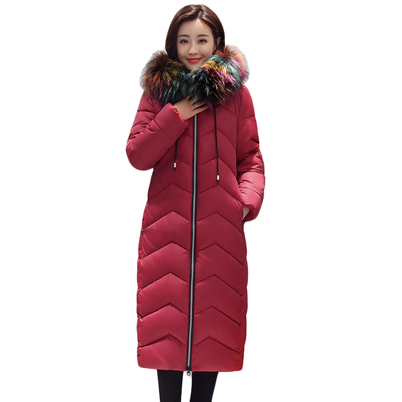 2017 New Style Women Winter Jacket Female Colorfu Large Fur Collar Hooded Coats Thicken Warm Long Slim Down Cotton Parkas CM1621 women winter coat leisure big yards hooded fur collar jacket thick warm cotton parkas new style female students overcoat ok238