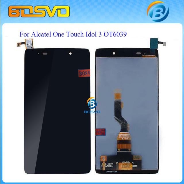 Assemblely substituição 4.7 polegada display lcd touch screen digitador para alcatel one touch idol 3 6039 ot6039 preto frete grátis