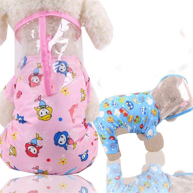 Cartoon Dog Raincoat Hooded For Small Dogs Waterproof Rain Gear For Chiwawa Pomeranian Rainsuit Clothing Coat Dog Poncho S-XXL