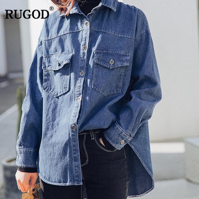 RUGOD 2018 осенние модные синие джинсы Блузка с карманами Для женщин Повседневное Свободные длинным рукавом Blusas джинсовая рубашка Befree Blusa Feminina