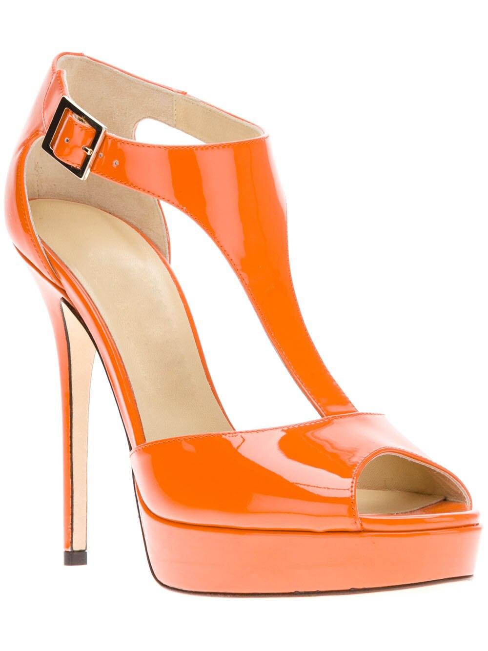 ФОТО Orange Patent Leather Platform T-strap Women Sandal Open Toe Made-to-order Plus Size 14 Ladies Shoes With Heel Platform