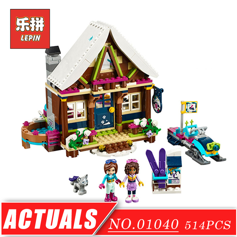 LEPIN 01040 Girl Series Snow Ski Resort Chalet DIY Set Model Building Kits Blocks Bricks Friends Educational Children Toys Gift 472pcs set banbao princess series castle building blocks girl friends favorite scene simulation educational assemble toys