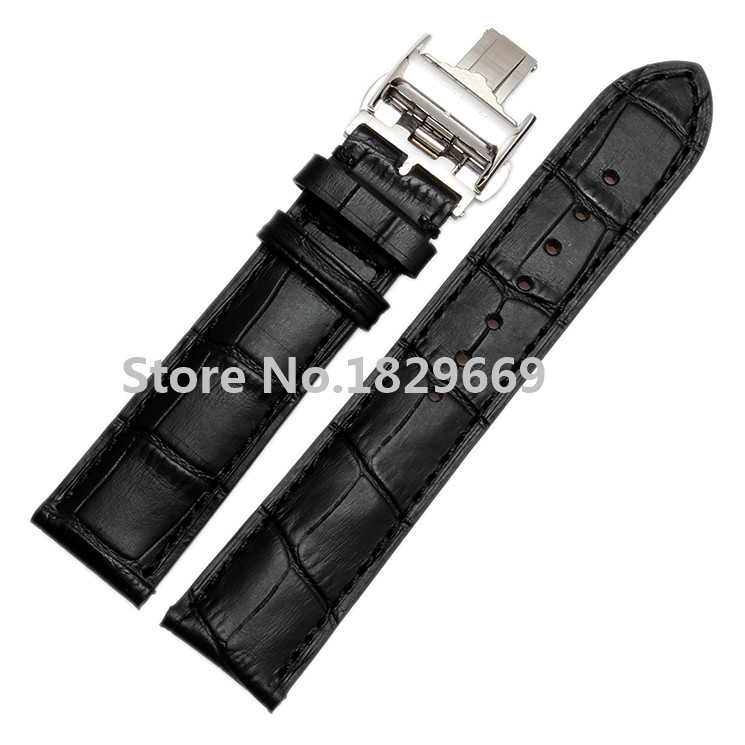 New Mens Black Genuine Leather Deployant Watch Band Strap Buckle Bracelet Watchbands watch accessories 18mm 19mm 20mm 21mm 22mm