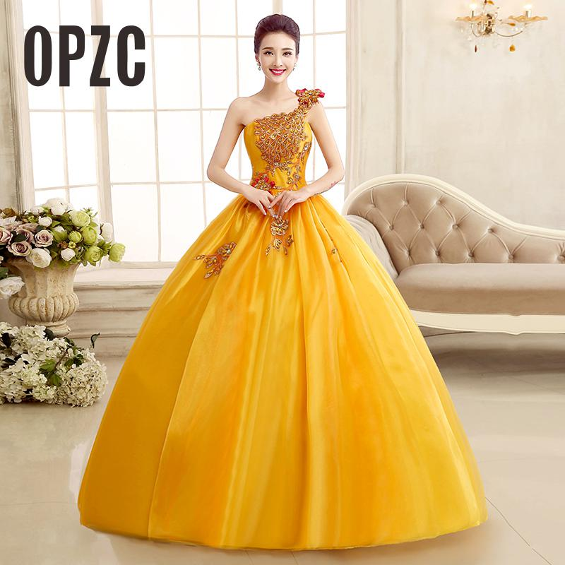 Golden Color Wedding Gowns: Real Photo Strapless Gold Wedding Dress 2017 New Color