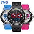 Brand TVG Dual Time Sports Watch Fashion Led Alarm Watch Waterproof Men Rubber Children Watches Clock Luminous Lovers Wristwatch