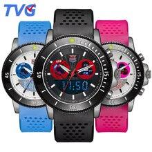 TVG marca Dual Time Sports Reloj de La Manera Led Reloj Impermeable de Los Hombres De Goma Relojes de Los Niños Reloj de Alarma Luminosa Amantes de Pulsera