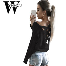 WYHHCJ 2017 women spring/summer t shirt fashion unicorn sexy Long sleeve women top back cross hollow out clothes loose t shirt