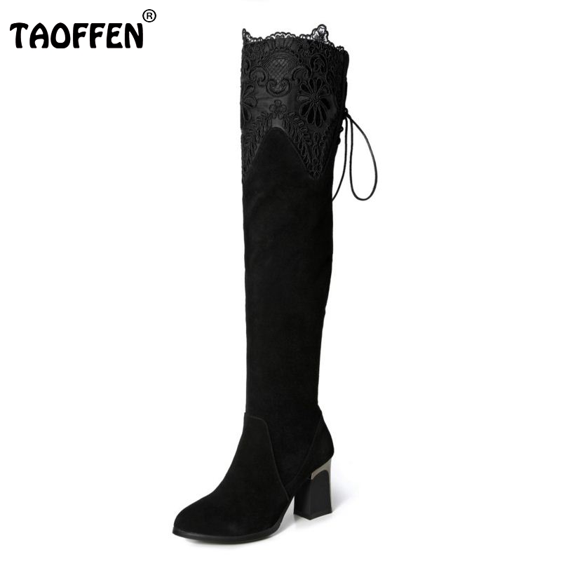TAOFFEN Women Genuine Real Leather Over The Knee Boots Winter Boots Sexy High Heel Round Toe Zipper Women Boots Shoes Size 33-42 vintage women genuine real leather knee boots winter boot sexy square heel round toe zipper fashion women boots shoes size 33 40