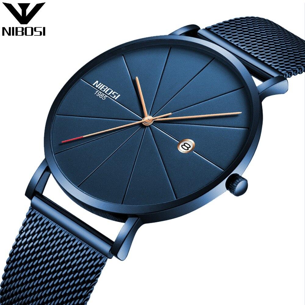 Reloj NIBOSI para hombre relojes azules para hombre 2017 reloj de cuarzo deportivo de acero completo relojes militares hombres impermeables ultrafinos Hodinky para hombre