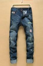 Молодые мужские джинсы бренда в европе и америке осенью и зимний отдых небольшой прямой мода мужчины