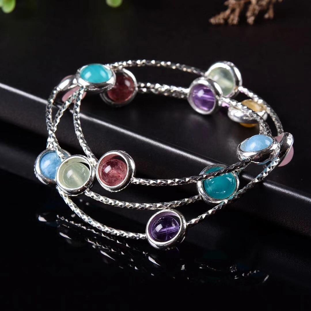 S925 pur argent bijoux conception originale mode fait à la main bricolage coloré chaîne de main en cristal.