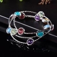 S925 pure silver jewelry original design fashion handmade DIY colorful crystal hand string.