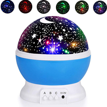 Moon Star Night Light Rotating Projector Lamp Baby Night Lights 4 LED 8 Modes Bedroom Table Lamp Children Kids Birthday Gifts