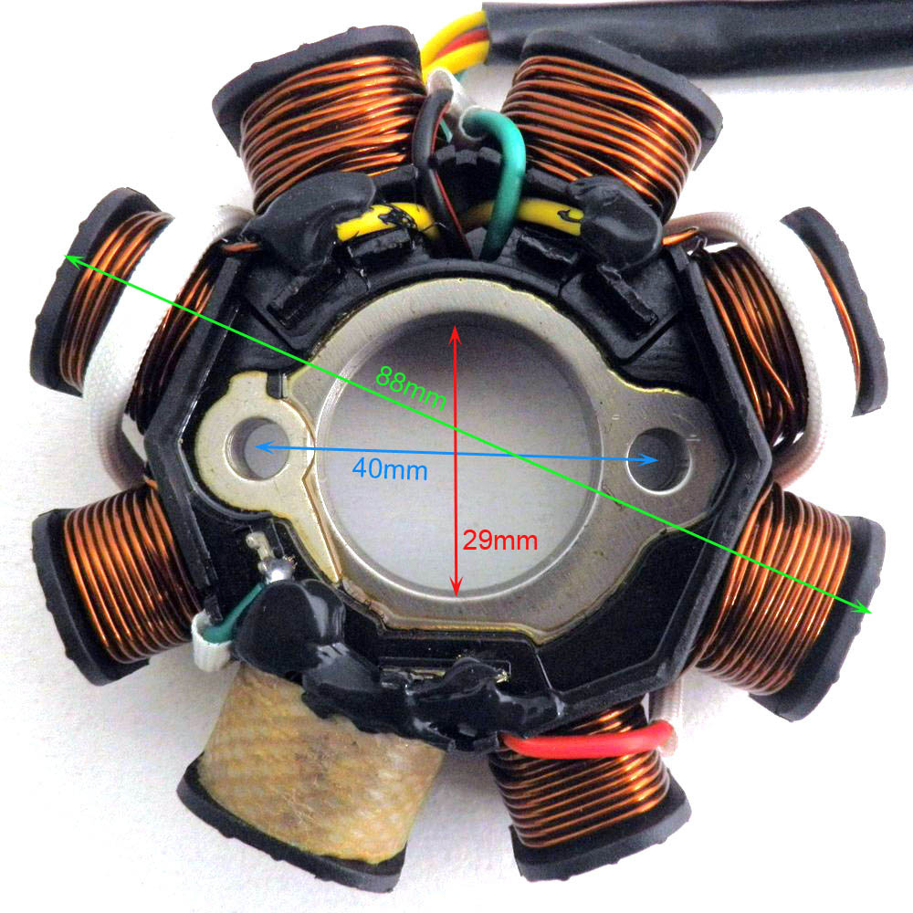 DC Ignition Stator Magneto Coil Generator 8 Poles for GY6 150cc 125cc Chinese Scooter Moped  ATV Quad Pocket Bike