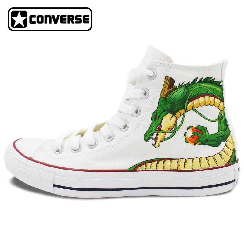 White Converse Chuck Taylor Dragon Ball Anime Design Hand Painted font b Shoes b font Man