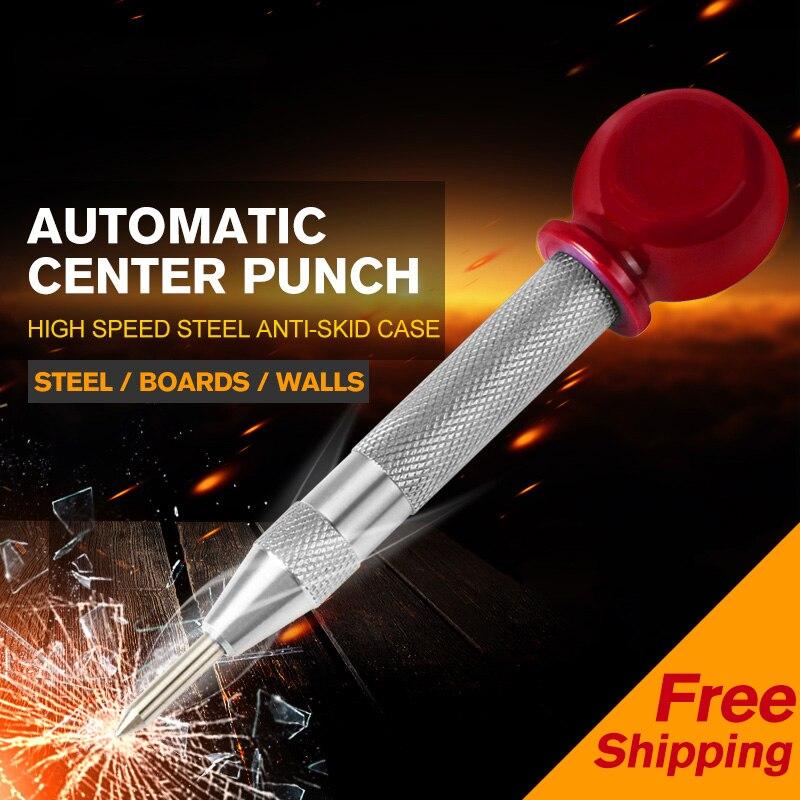1 pces hss centro soco estator perfuração automática centro pino perfurador primavera carregado marcação ferramenta de perfuração com uma luva protetora