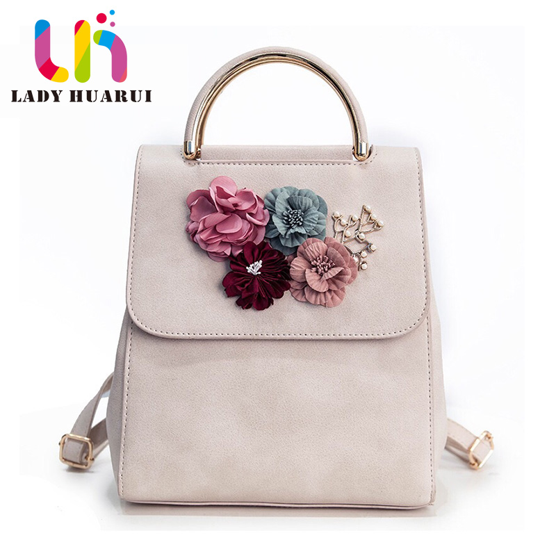 Brand Leather Women Backpack Female Japan and Korean Style Trend Three-dimensional Flower Shoulder Bag Womens Backpack Q2