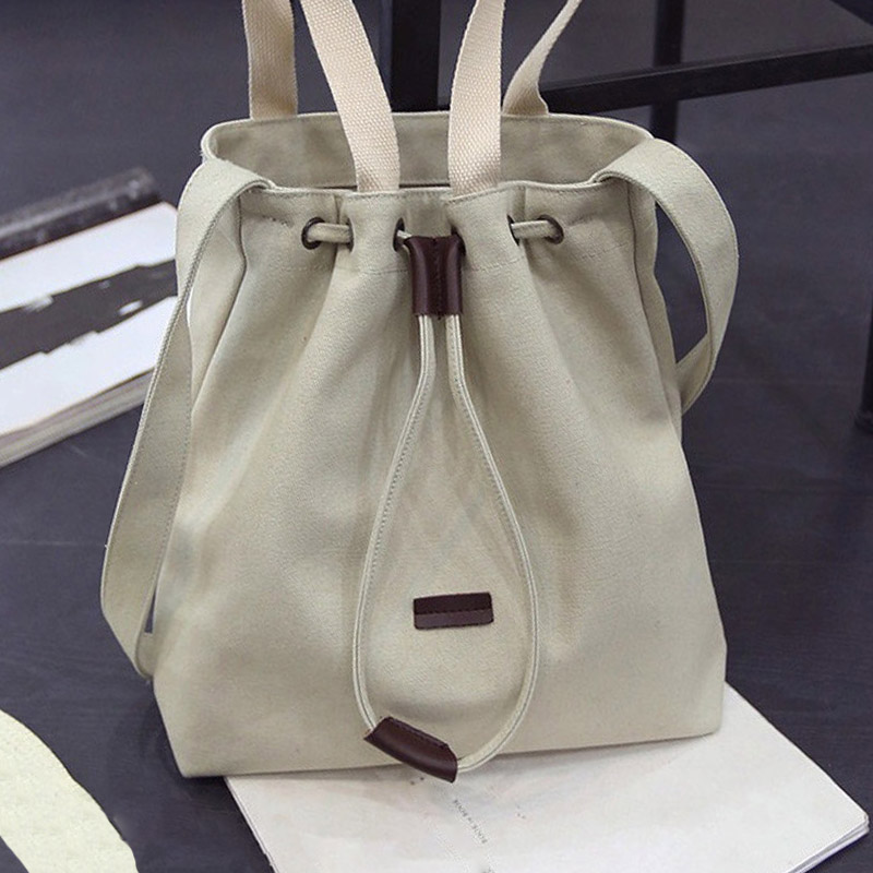 Women's Canvas Straw String Bucket Handbag Designer Messenger Bag Ladies Solid Zipper Crossbody Bag