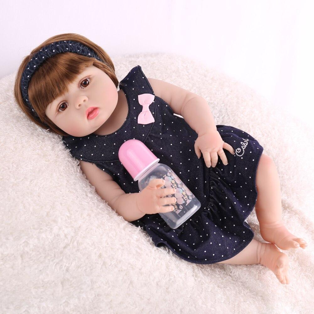 NPKDOLL Volle Silikon 22 zoll 55 cm Reborn Baby Puppen Lebensechte Realistische Kid Boneca Mode Spielzeug Grils Puppen Bebe Reborn menina-in Puppen aus Spielzeug und Hobbys bei  Gruppe 3