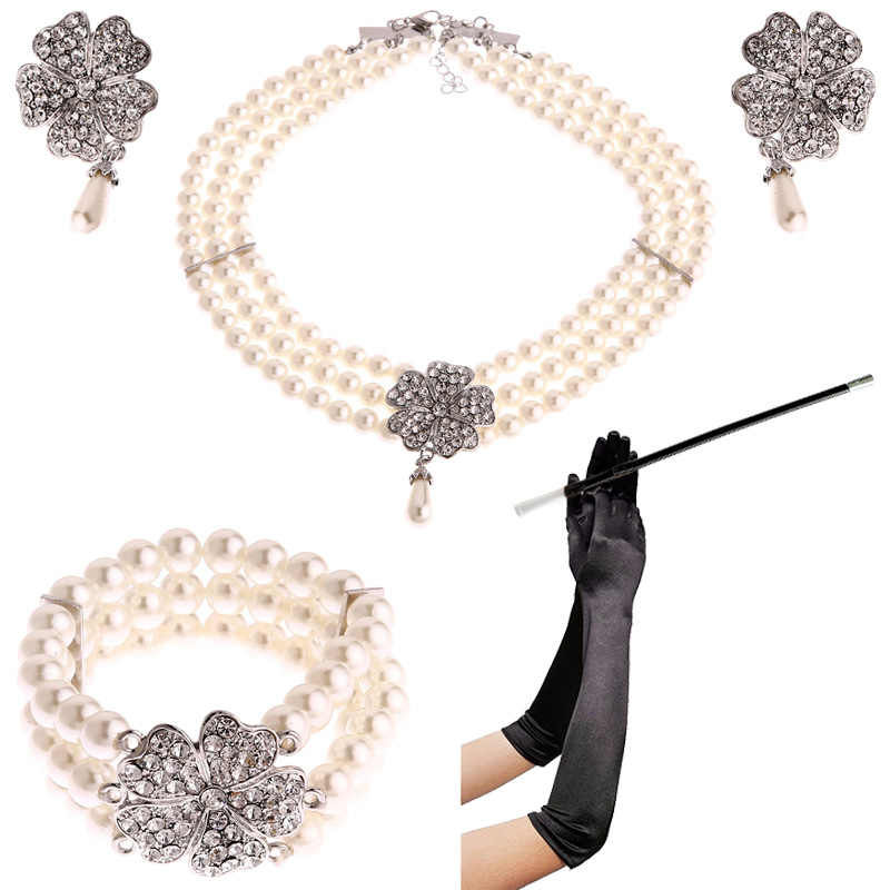 1950s Costume Jewelry Accessory Set Pearl Necklace Earring Bracelet Glove Cigarette Holder Audrey Hepburn Breakfast at Tiffanys