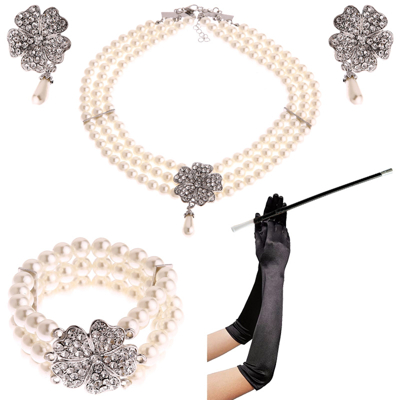 691768963590a US $11.39 26% OFF|1950s Costume Jewelry Accessory Set Pearl Necklace  Earring Bracelet Glove Cigarette Holder Audrey Hepburn Breakfast at  Tiffanys-in ...