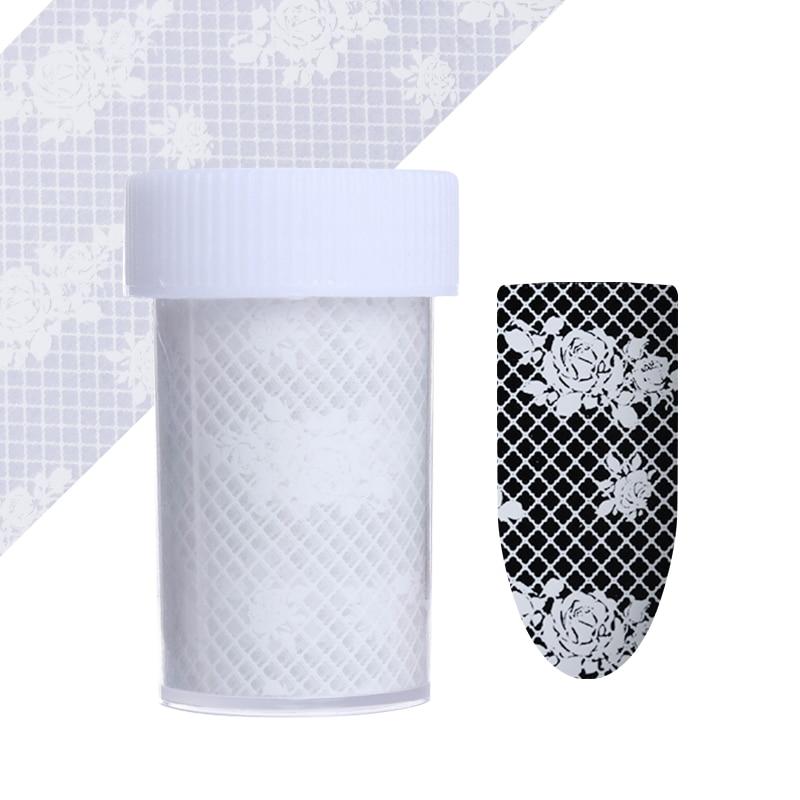Lace Flower Nail Art Stickers Holographic Nail Foils Nail Art Transfer Sticker Paper 1Sheet # 22952 1sheet 6pcs 3d nail art sticker golden stripe heart houndstooth patterned 1sheet
