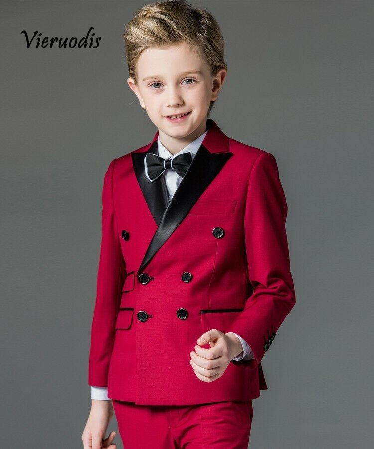Red Kids Double Breasted Suit Wedding Boys Suits Childrens Tuxedo Flower