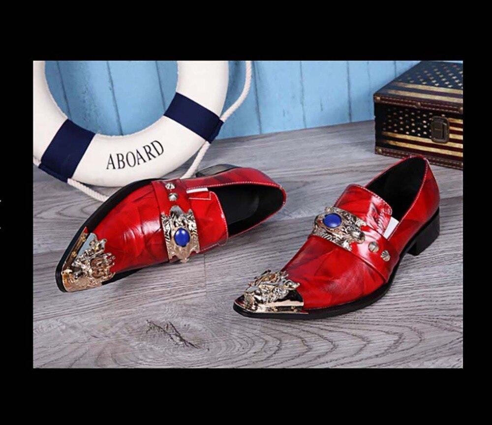 Cuir Noir Rouges Pointu Tigre De Style Tête rouge Européen Version Hommes Chaussures Espagnol En Fer Personnalité Métal Britannique Marée UzMpVqSG