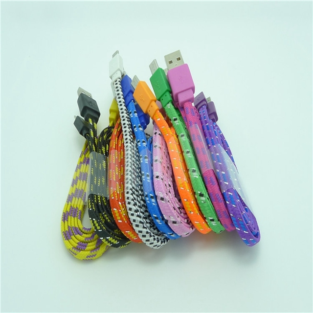 Wholesale 100pcs/Lot 1M 3ft Durable flat Braided Fabric Micro USB 2.0 Data Charger Cable For Samsung Blackberry for HTC