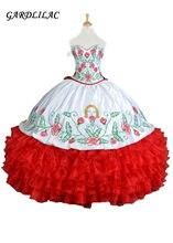 2018 novo branco real vermelho bordado quinceanera vestidos de baile querida babados vestidos de 15 anos doce 16 vestidos