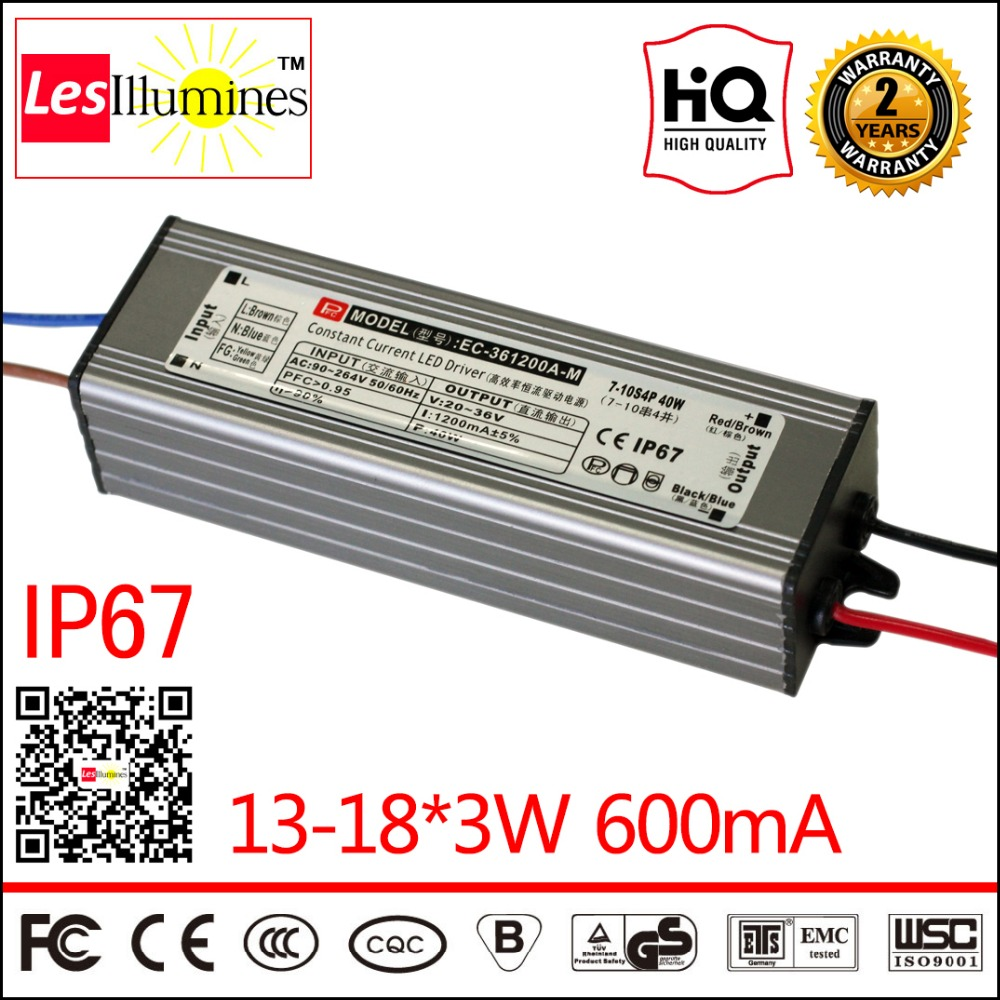 Waterproof LED Driver Transformer IP67 CE ROHS Approval AC DC Constant Current Output 36-62V 600mA 13-18*3W LED Power Supply