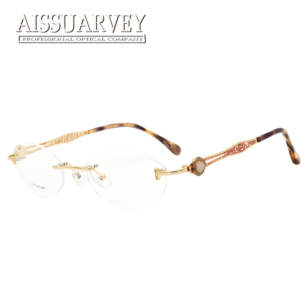 e880c99529b Rimless Eyeglasses Frames Women Titanium Glasses Eyewear Elegant Optical  Prescription Diamond Rhinestone Brand Designer Goggles(