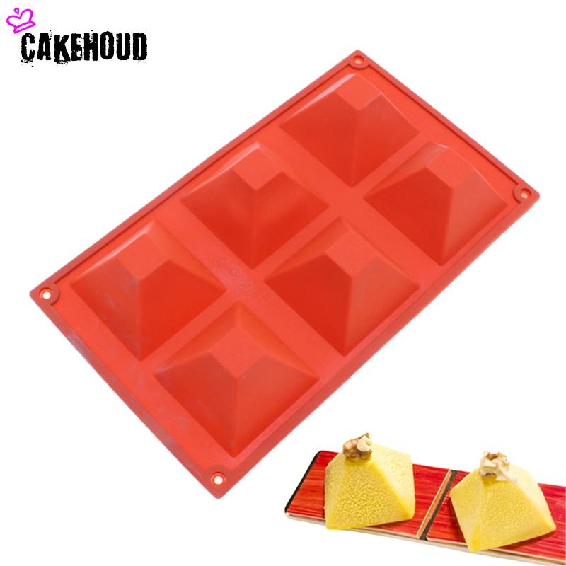 Cakehoud Diy Silicone 6 Cavity Pyramid Square Shape Cake