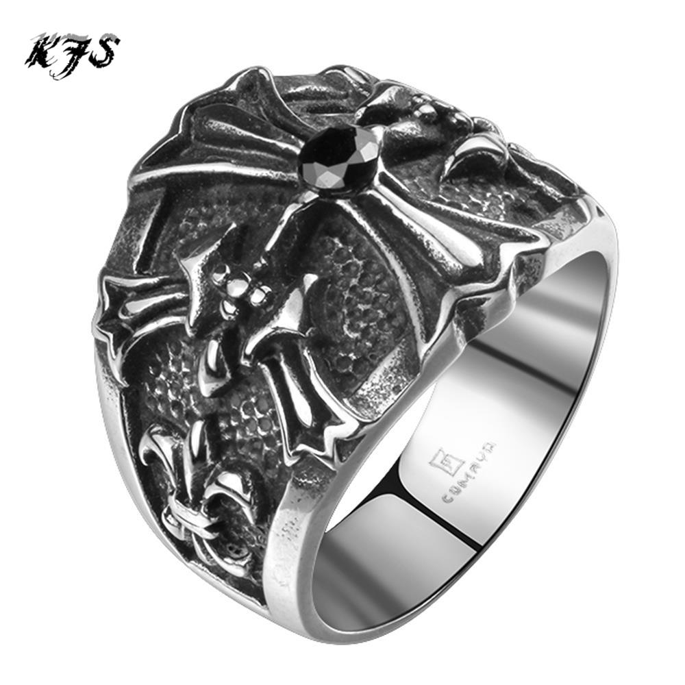 2016 New Stylish Wholesale Ghost Rider Cross Men's Rings 316l Stainless  Steel Punk Black Cz Diamond Boy's Ring