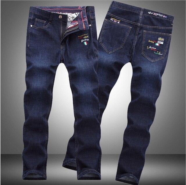 0c64572ae5a23 € 45.01 |Shark automne nouvelle italie classique bleu denim pantalon hommes  mince Fit Marque Pantalon Mâle Haute Qualité Coton De Mode Jeans Homme ...