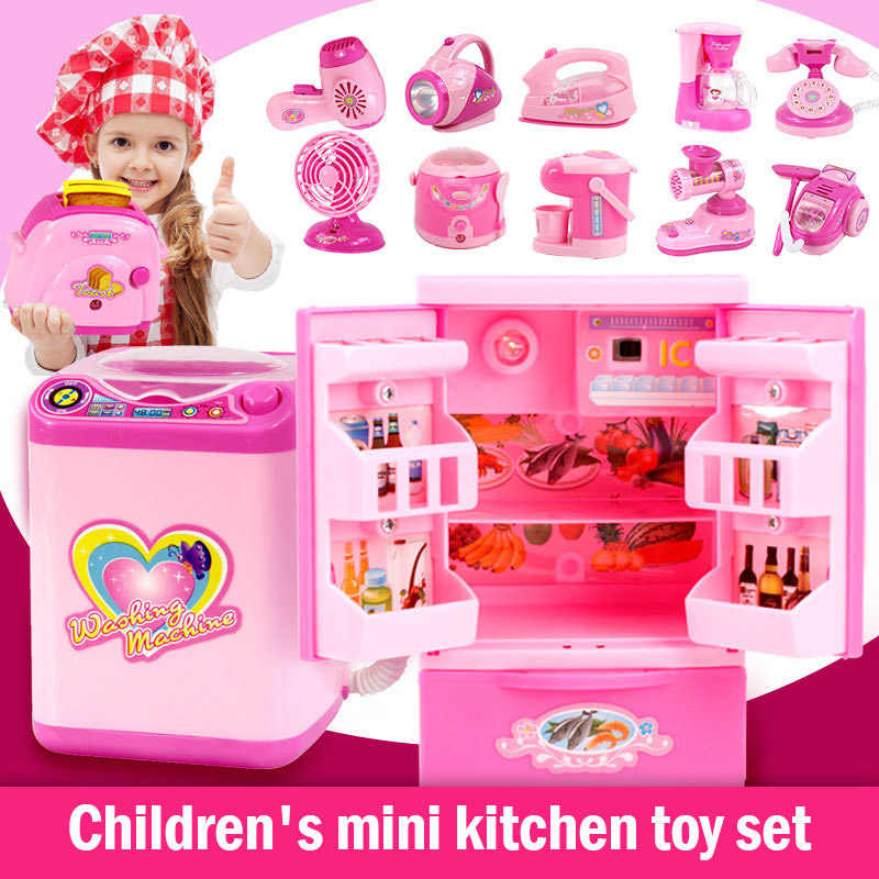 6/12 Pcs Children Kitchen Appliance Toys with Light Music Plastic Girl Pretend Play Toy Set Kid Gift YH-17
