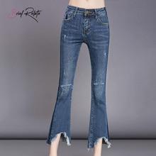 Brief Relate Slim Ladies Denim Jeans Korean Style Bell Bottoms Ninth Pants Skinny Smoky Blue Design Fashion High Quality