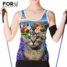 FORUDESIGNS Fashion Tank Tops for Women Lavender Cat Printed Sleeveless Cami Top Camisol Female Casual Crop Top Round Neck 2017