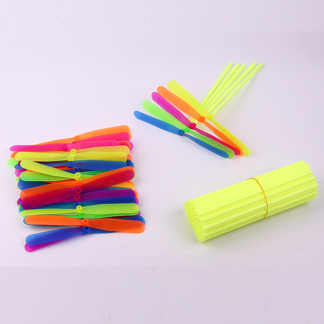 10pcs Anti Stress Toy Plastic Bamboo Dragonfly Propeller Outdoor Toy Kids Gift Flying Mini Whirl A Copter Helicopter Party Favor